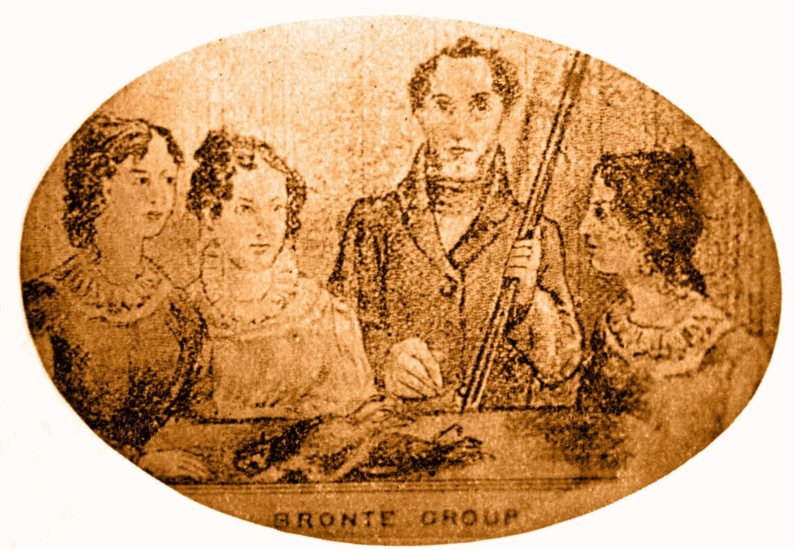 Charlotte, Emily and Anne Brontë with their brother, Branwell.