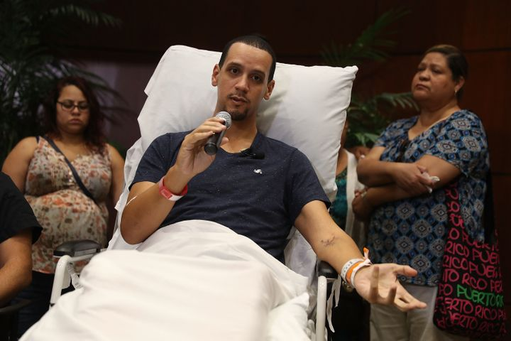 Angel Santiago speaks to the media from the Florida Hospital about being shot in the Pulse gay nightclub terror attack.
