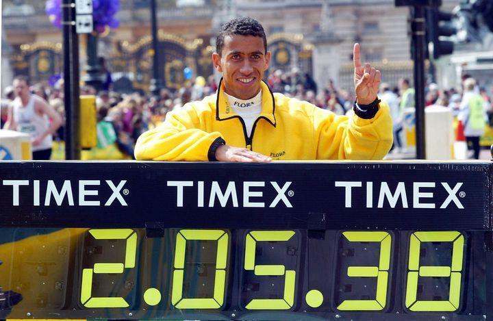 Khalid Khannouchi, a former world record holder for the marathon, after winning the London Marathonin 2002.