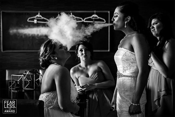 """""""E-cigarettes and vaping are all the rage, so this shot has a timeliness to its content. The face-off moment between the two"""