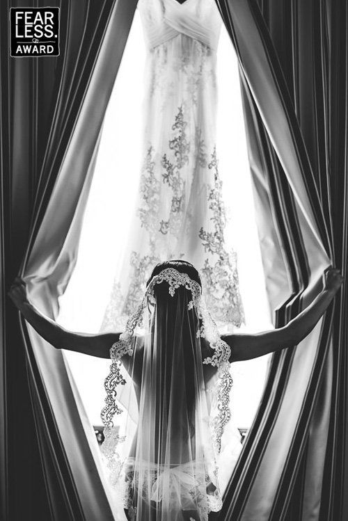 """""""This daring shot of the bride in her panties and veil demonstrates a dazzling balance between soft and strong. The perfect s"""