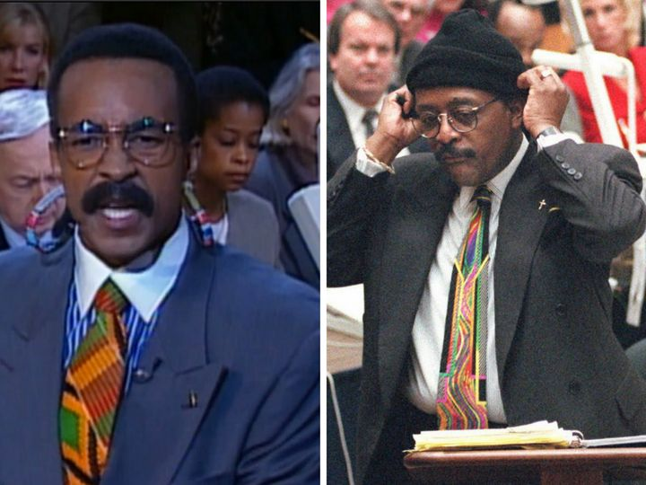 """Tim Meadows as Johnnie Cochran in a """"SNL"""" sketch that aired on Sept. 30, 1995 and Johnnie Cochran during his closing arguments on Sept. 27, 1995."""