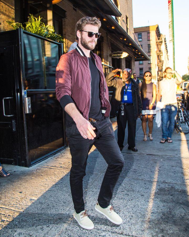 Liam Hemsworth is seen leaving SoHo House on June 14, 2016, in New York.