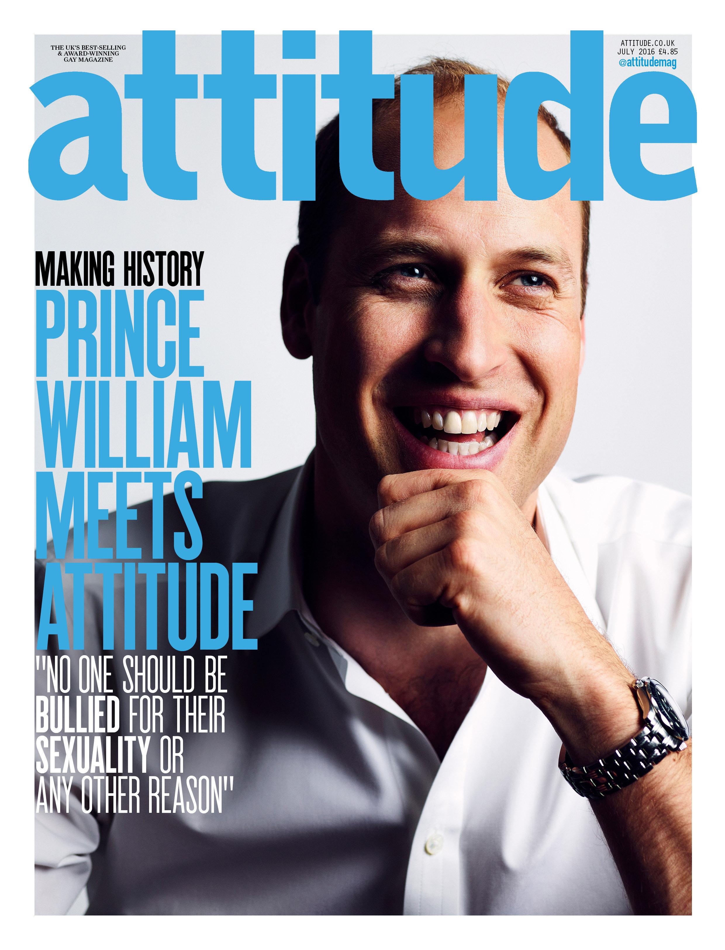 Prince William on the cover of Attitude magazine.