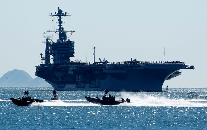 A file photo of theUSS John C. Stennis, which iscurrently patrolling the Western Pacific.