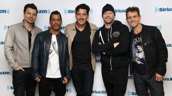NEW YORK, NY - JUNE 09:  (EXCLUSIVE COVERAGE) (L-R) New Kids on the Block, Jordan Knight, Danny Wood, Jonathan Knight, Donnie Wahlberg and Joey McIntyre visit the SiriusXM Studios on June 9, 2016 in New York City.  (Photo by Astrid Stawiarz/Getty Images)