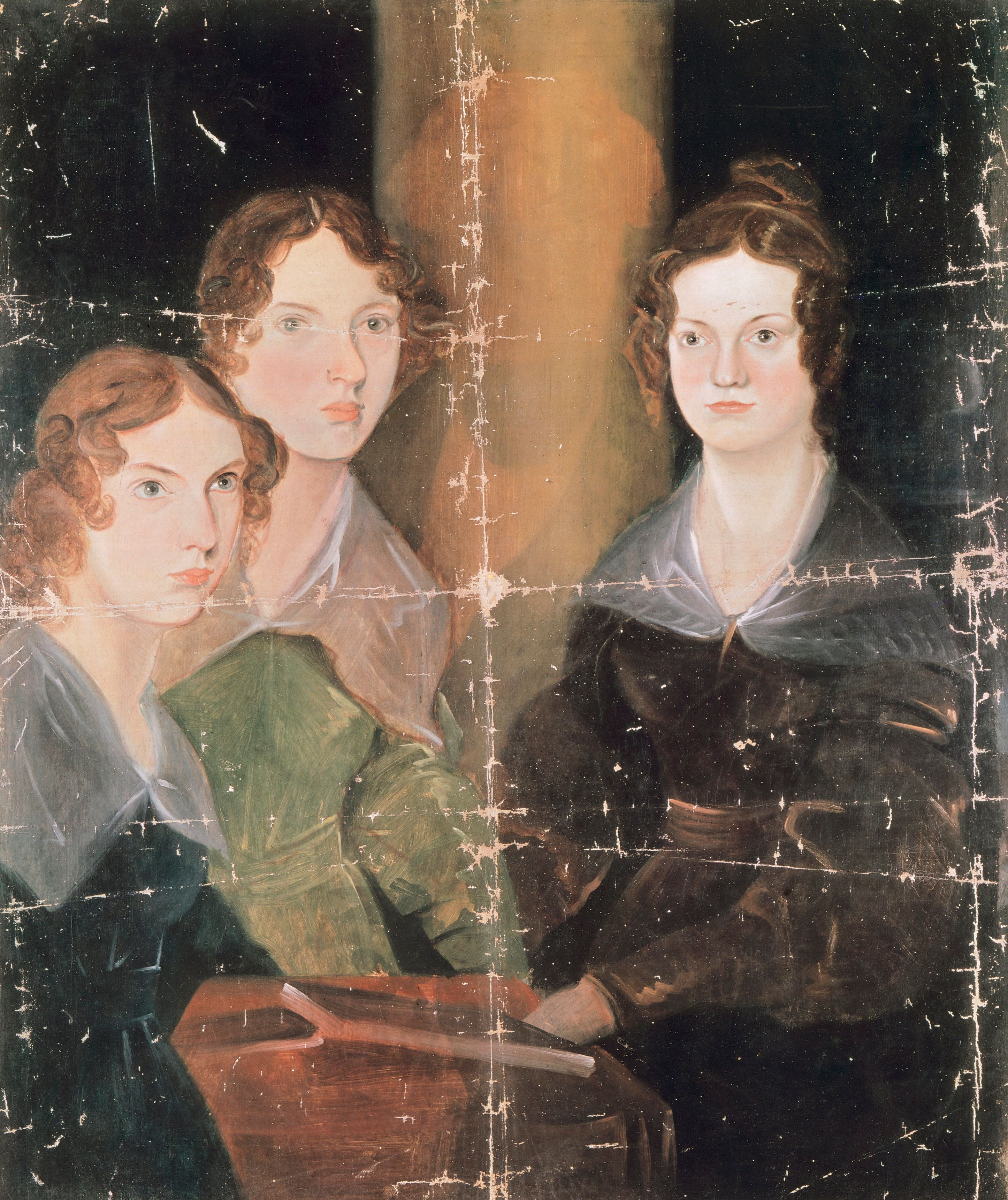 Portrait of Anne Bronte (Thornton, 1820 - Scarborough, 1849), Emily Bronte (Thornton, 1818 - Haworth, 1848) and Charlotte Bronte (Thornton, 1816 - Haworth, 1855), English writers. Oil on canvas by Patrick Branwell Bronte (1817-1848), caa 1834, 90.2 x74.6 cm.