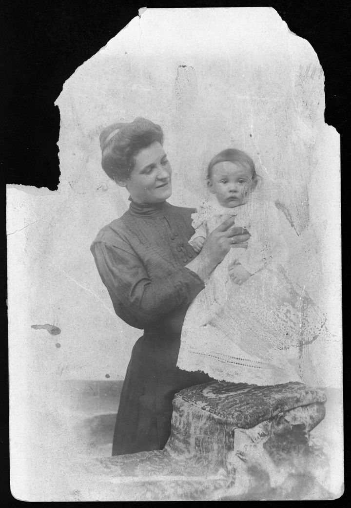 Sarah Burinescu with one of her five babies, ca. 1915.