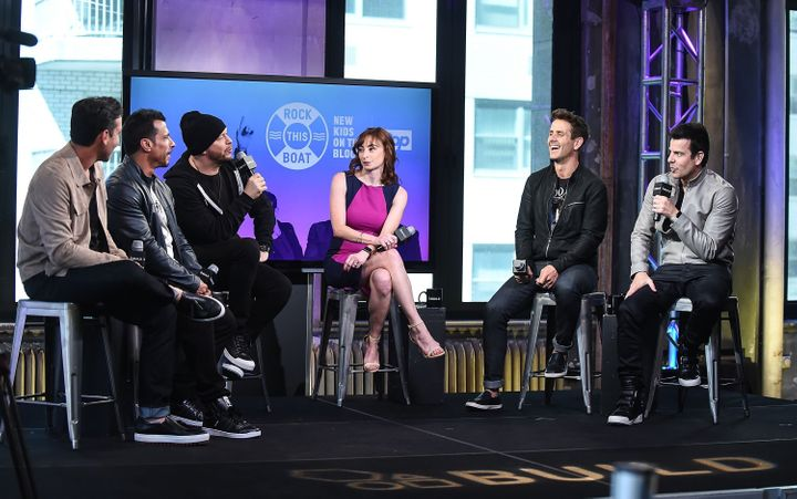 Jonathan Knight, Danny Wood, Donnie Wahlberg, Joey McIntyre and Jordan Knight of New Kids on the Block attend AOL Build Speak