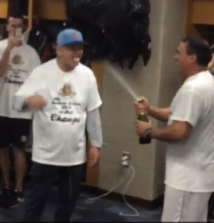 Bill Murray soaked in champagne