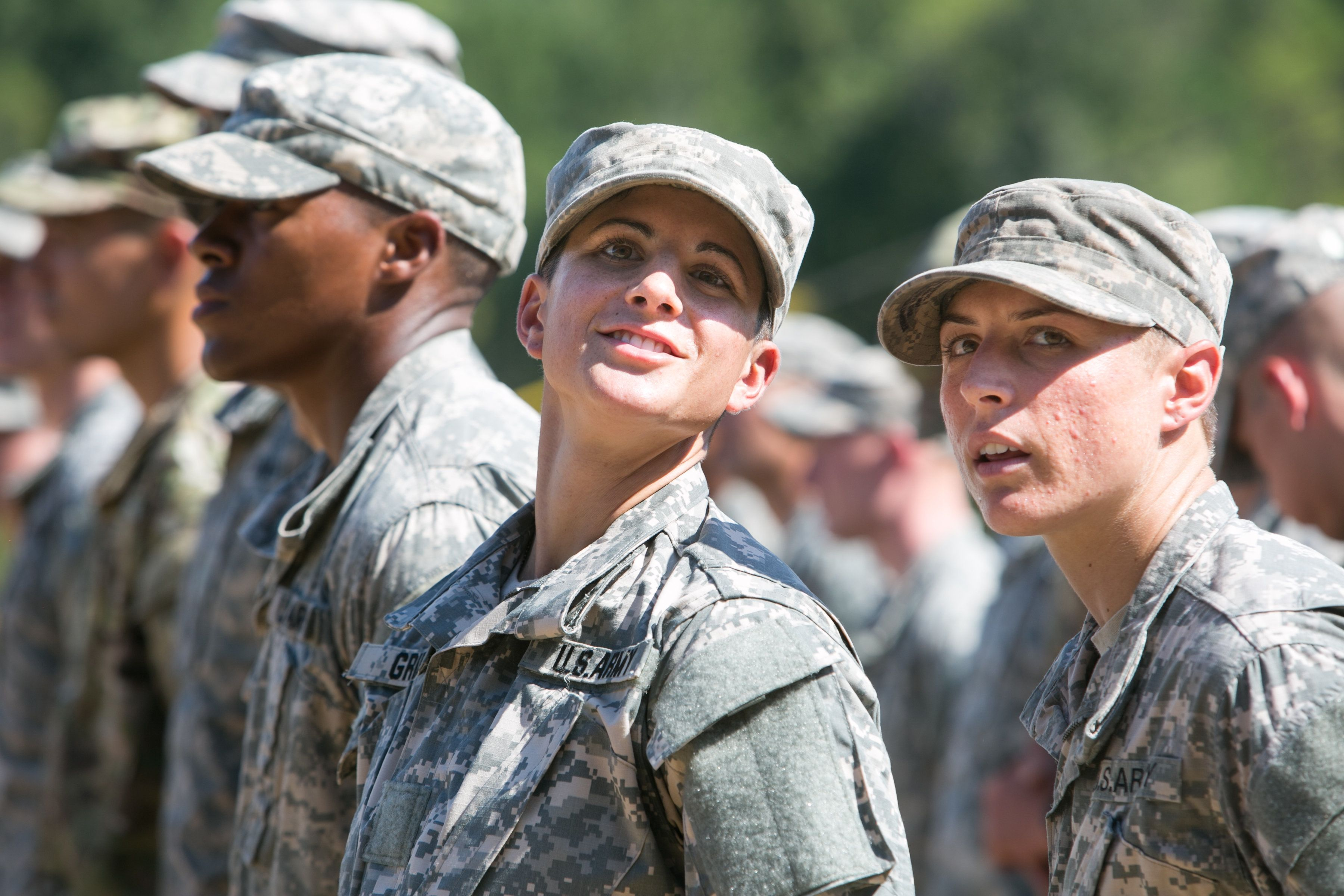 FORT BENNING, GA - AUGUST 21:  Capt. Kristen Griest (left) and 1st Lt.  Shaye Haver look on during the graduation ceremony of the United States Army's Ranger School on August 21, 2015 at Fort Benning, Georgia . Griest and Haver are the first women ever to successfully complete the U.S. Army's Ranger School.  (Photo by Jessica McGowan/Getty Images)
