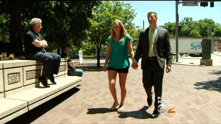 Julie is seen walking hand-in-hand with her new husband, Andrew Nixon, near where she revived the woman.