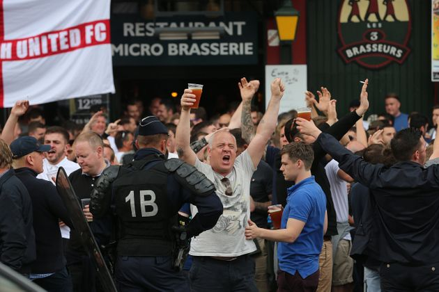 England fans and police in Lille city