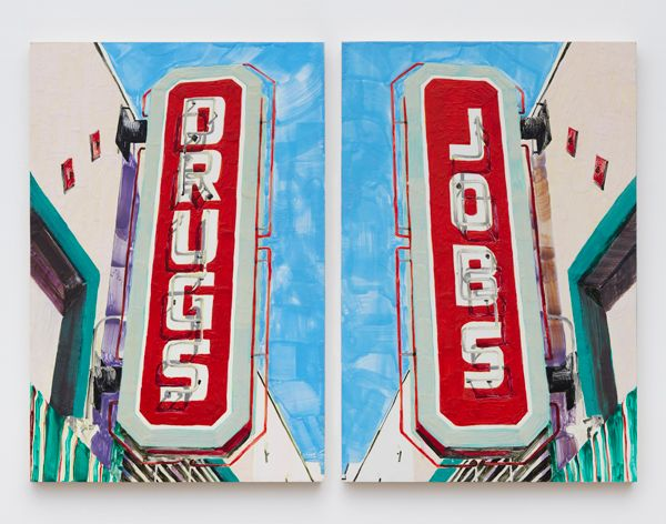 DRUGS/JOBS, 2015, Encaustic on panel, 36 by 48 inches.