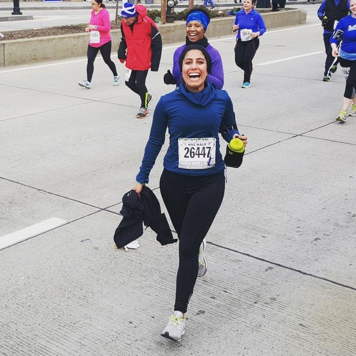 Kherani tries out one of the Sukoon hijabs during a half marathon in New York City.