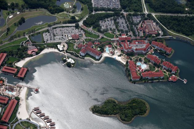An aerial view of the Grand Floridian after a two-year-old boy was dragged by an alligator into the lagoon...
