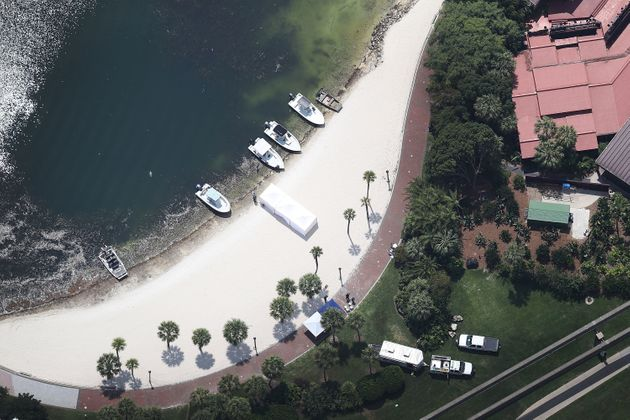 Search and rescue boats on a beach near the Walt Disney World's Grand Floridian resort hotel where a...
