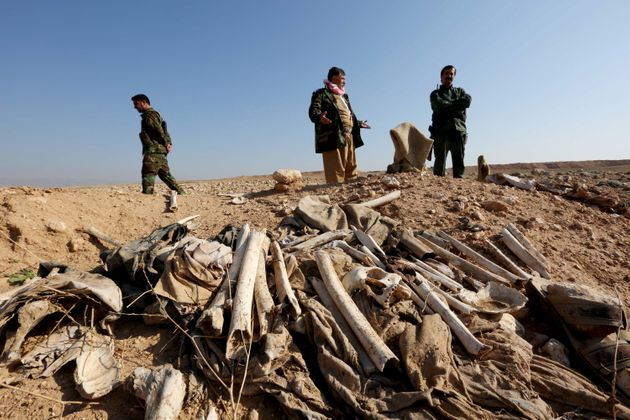 Several mass graves have been uncovered. These bones, suspected to belong to members of Iraq's Yazidi...