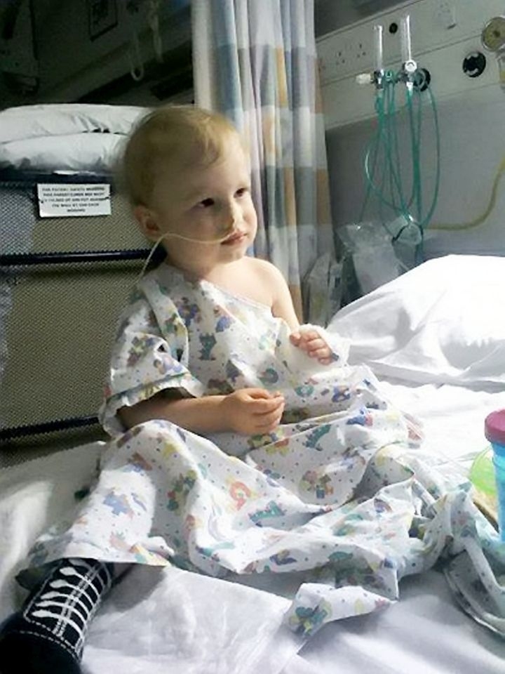 Dylan after his first operation in July 2014