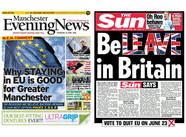 TheManchester Evening News backs Remain and The Sun is for