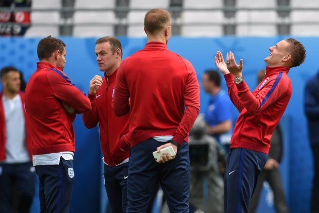 England Vs Wales:James Milner, Wayne Rooney, Joe Hart and Jamie Vardy during the walk around at...