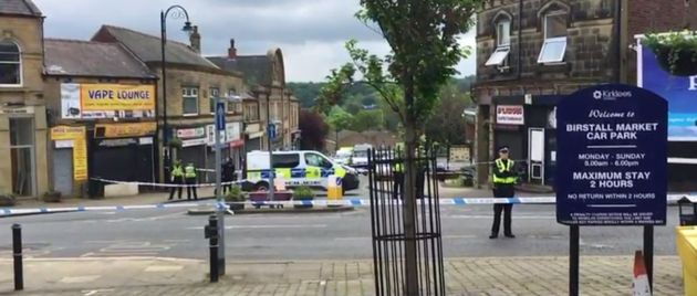 Police near the scene of the incident in Birstall, West