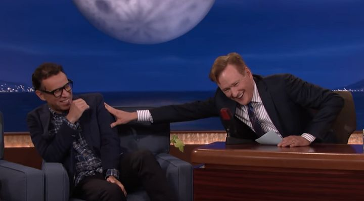 "Fred Armisen and Coco joking around on ""Conan."""