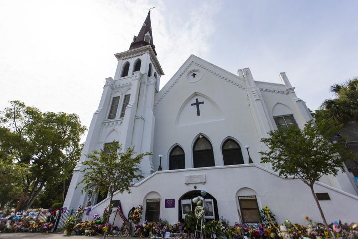Memorial items line the front of Emanuel African Methodist Episcopal Church.