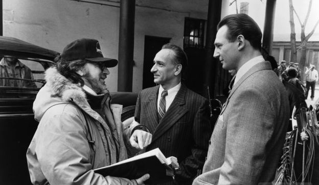 Steven Spielberg hard at work on set with Ben Kingsley and Liam