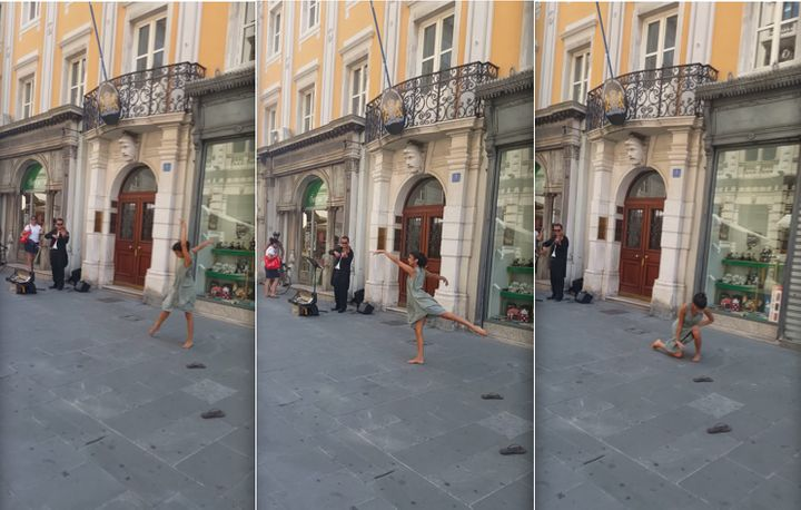 A young woman was filmed elegantly dancing in the streets of Italy in what appeared to be a spontaneous performance.