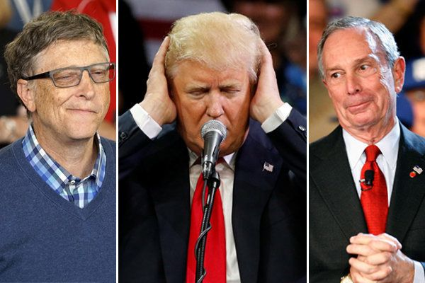 Bill Gates (left) and Michael Bloomberg (right) are both billionaires with a better record than Trump, Michael Moritz argues