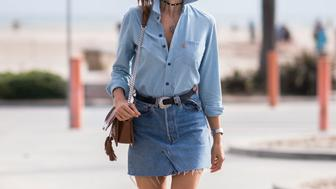 LOS ANGELES, CA - JUNE 13:  Alessandra Ambrosio is wearing  a Redone denim skirt, Levi's shirt, TOD'S bag, Schutz heels, Rolex watch seen in the streets of Los Angeles on June 13, 2016 in Los Angeles, California.  (Photo by Timur Emek/Getty Images)
