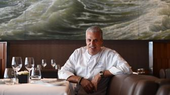 Eric Ripert, chef and co-owner of Le Bernardin in New York City at his restaurant in New York May 16, 2016.  Chef Ripert has written a new memoir titled '32 Yolks: From My Mother's Table to Working the Line .' / AFP / TIMOTHY A. CLARY        (Photo credit should read TIMOTHY A. CLARY/AFP/Getty Images)
