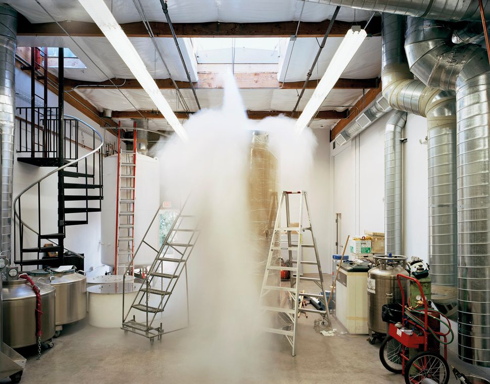 Patient Care Bay (Bigfoot dewar being filled with liquid nitrogen), Alcor Life Extension Foundation, Scottsdale, Arizona. Oct