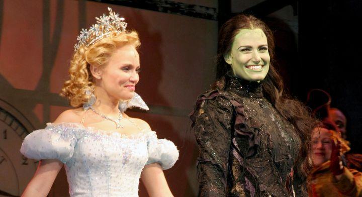 "Kristin Chenoweth and Idina Menzel at ""Wicked"" curtain call."