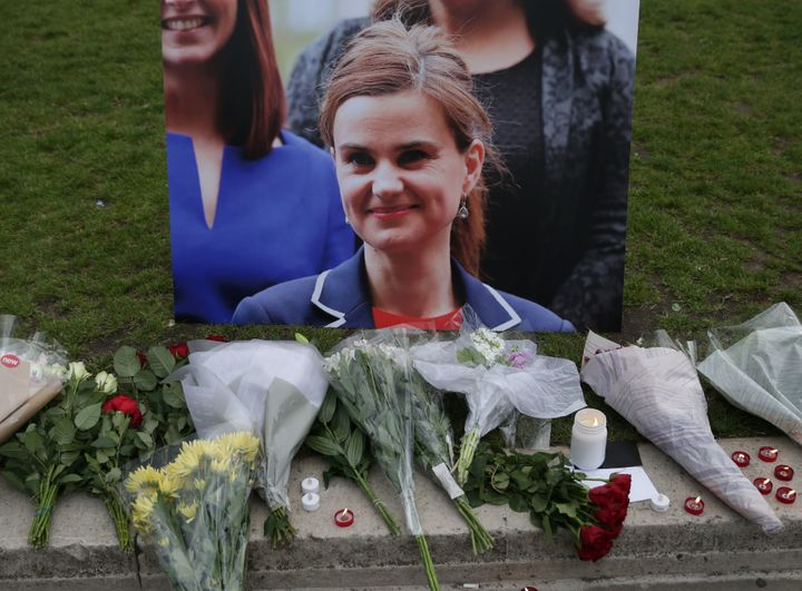 British member of Parliament Jo Cox was shot to death in northern England on Thursday. Above, floral tributes and candles are
