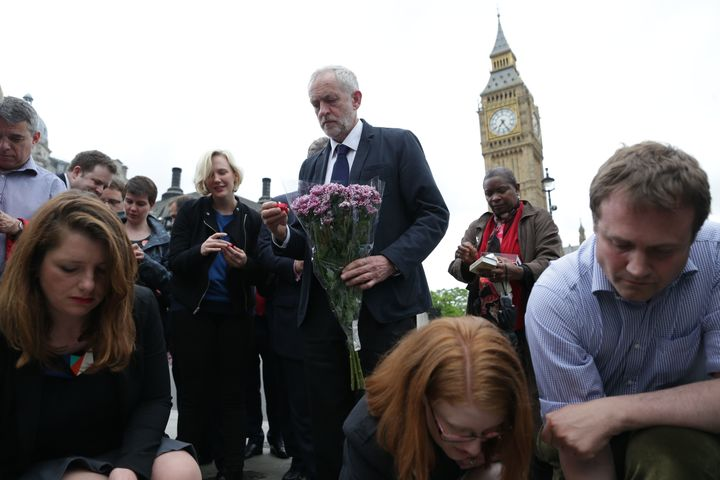 Labour leader Jeremy Corbyn, pictured above at avigil forJo Cox in London's Parliament square, was among politici
