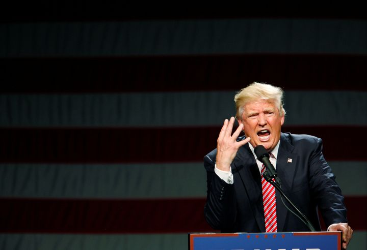 Republican presidential candidate Donald Trump speaks at a campaign rally in Greensboro, North Carolina on June 14, 2016.