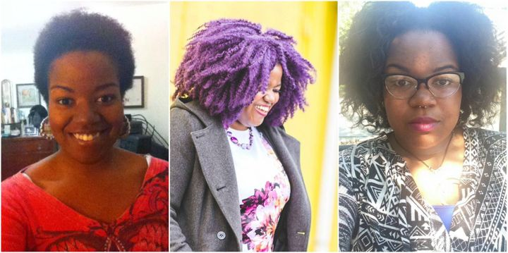 Me with my Big Chop in 2013, Me Earlier this year with a funky crochet braids, and me now a days with a nice twist out.