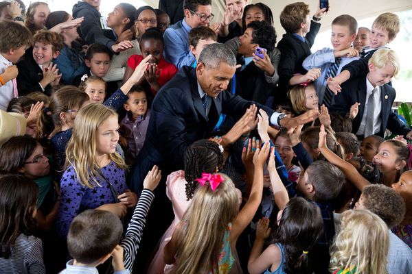 "July 25, 2015  ""I love looking at all the individual faces in this photograph of the President greeting children at the U.S."