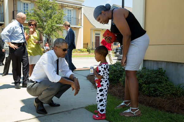 "August 27, 2015  ""Nice pajamas. The President greets residents in the Tremé neighborhood of New Orleans. The area experienced"