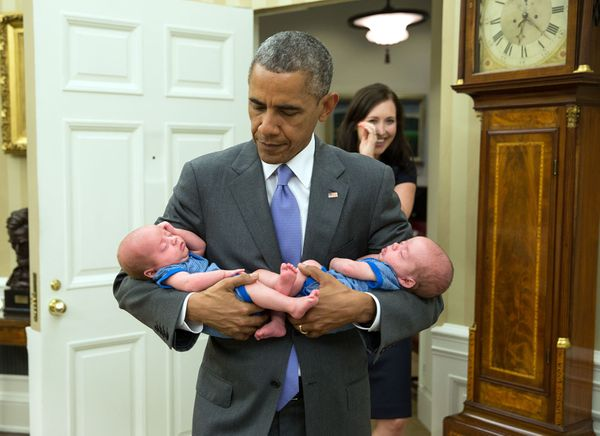 "June 17, 2015  ""The President carries the twin boys of Katie Beirne Fallon, Director of Legislative Affairs, into the Oval Of"