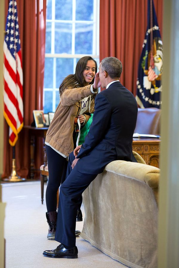 "Feb. 23, 2015  ""The President's daughter Malia stopped by the Oval Office one afternoon to see her dad and, while they were t"