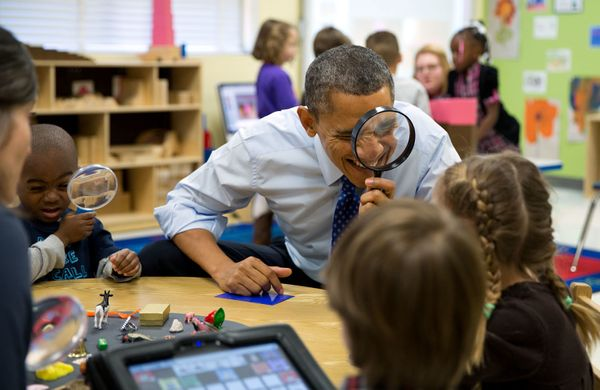 "Feb. 14, 2013  ""The President genuinely enjoys being with kids. Here, he played a magnifying glass game with children during"