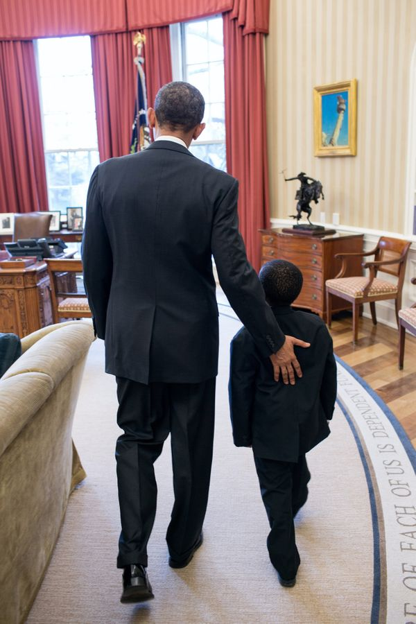 "President Barack Obama welcomes Robby Novak, known as ""Kid President,"" to the Oval Office, April 1, 2013. (Official White Hou"