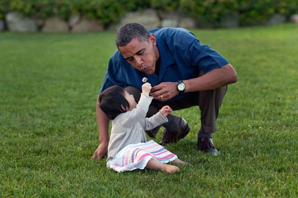 President Barack Obama plays with his niece Savita during the family's vacation on Martha's Vineyard, Aug. 25 2009. (Official