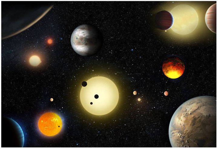 An artist's depiction of planetary discoveries by NASA's Kepler spacecraft, which searches for Earth-like planets. The Kepler