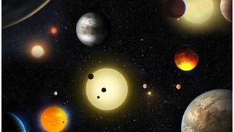 An artist's depiction of planetary discoveries by NASA's Kepler spacecraft, which searches for Earth-like planets. The Kepler telescope has discovered thousands of verified planets since it launched in 2009.