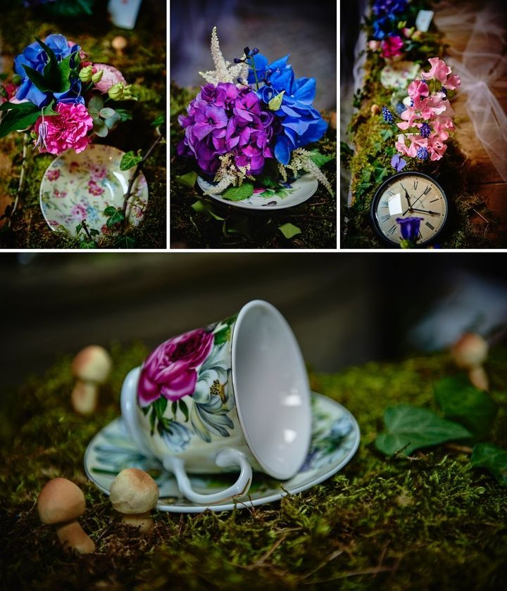 """A mix of classic elegance and eclectic whimsy made our <i>Alice In Wonderland</i> wedding really fun and gorgeous in [our] g"