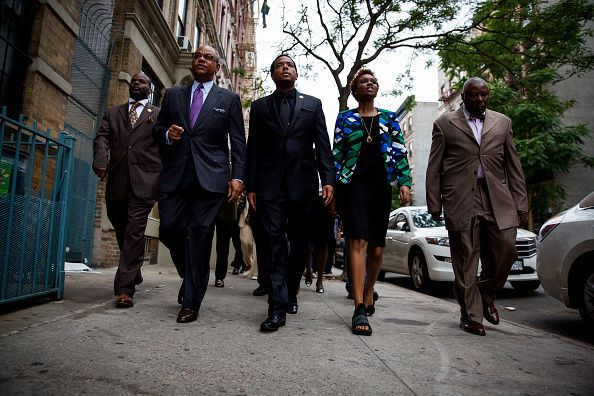 Clergy leaders in Harlem march during a prayer vigil for the Charleston victims